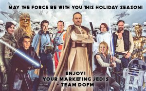 A photoshop illustration of the Department of Marketing team member heads on top of Star Wars characters' bodies