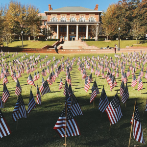 The Court of North Carolina filled with American flags