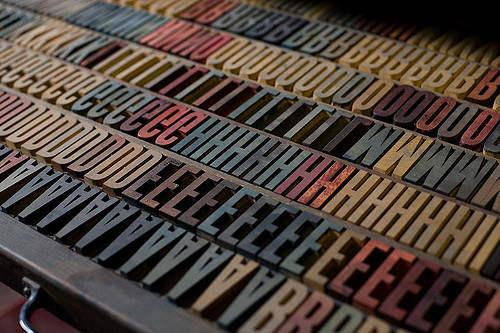 printing press with capital letters