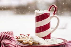 Peppermint drink cup with marshmallows and cookies