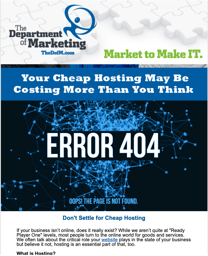 The Department of Marketing newsletter, a slice of what it looks like at the top.